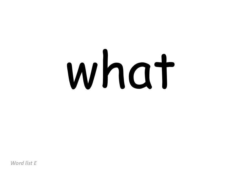 what Word list E