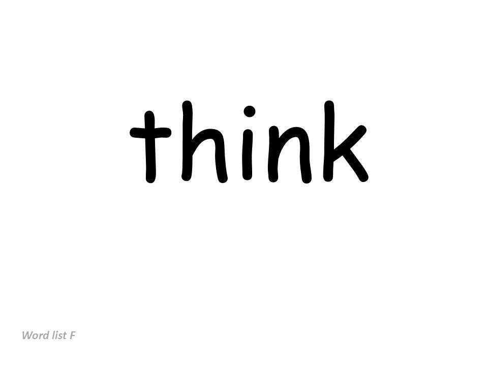 think Word list F