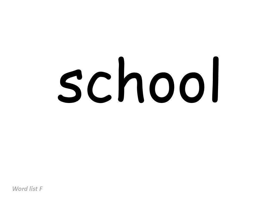 school Word list F