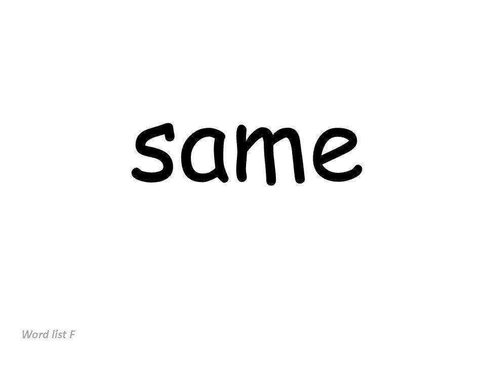 same Word list F