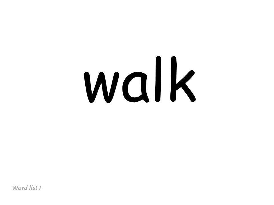 walk Word list F