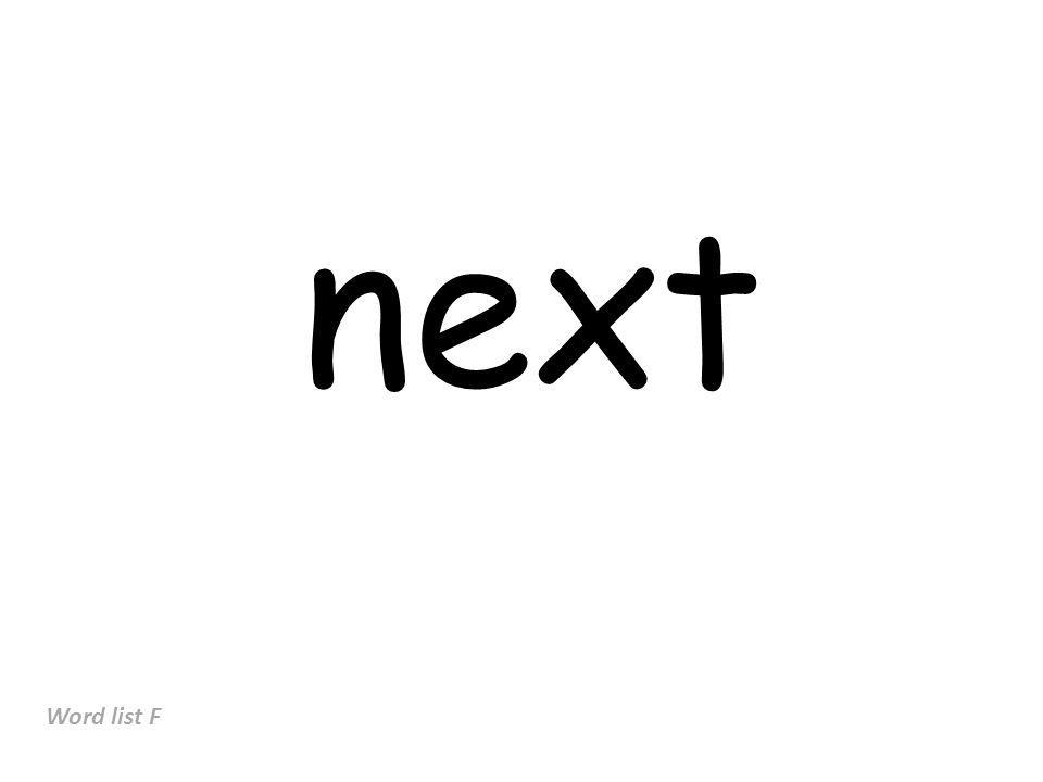 next Word list F