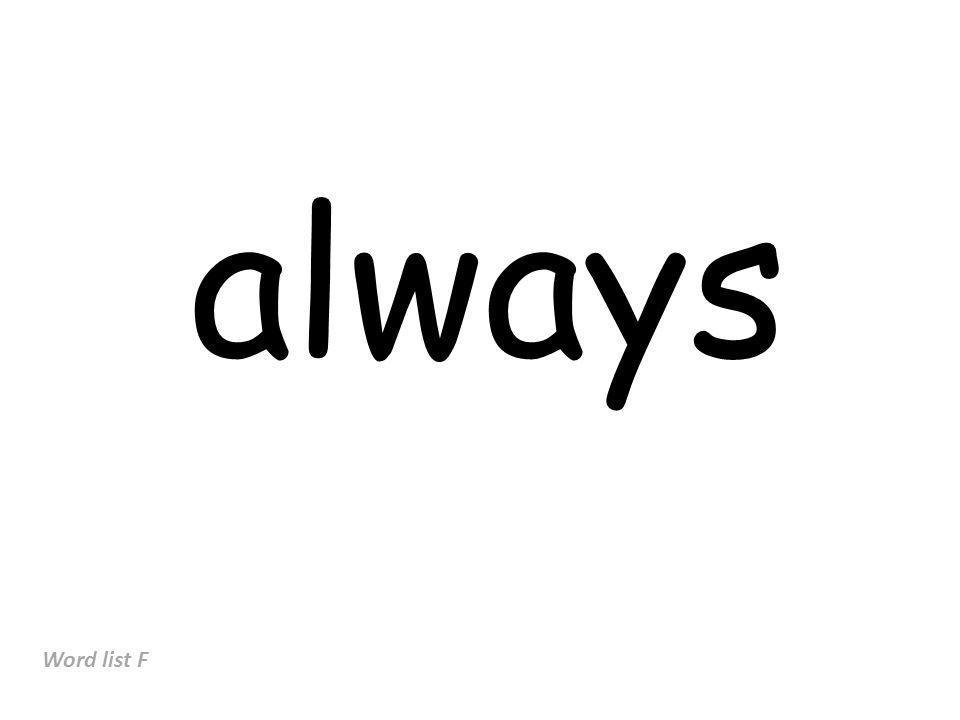 always Word list F
