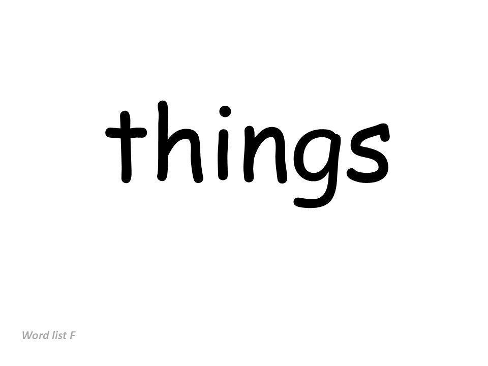 things Word list F