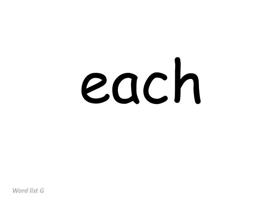 each Word list G
