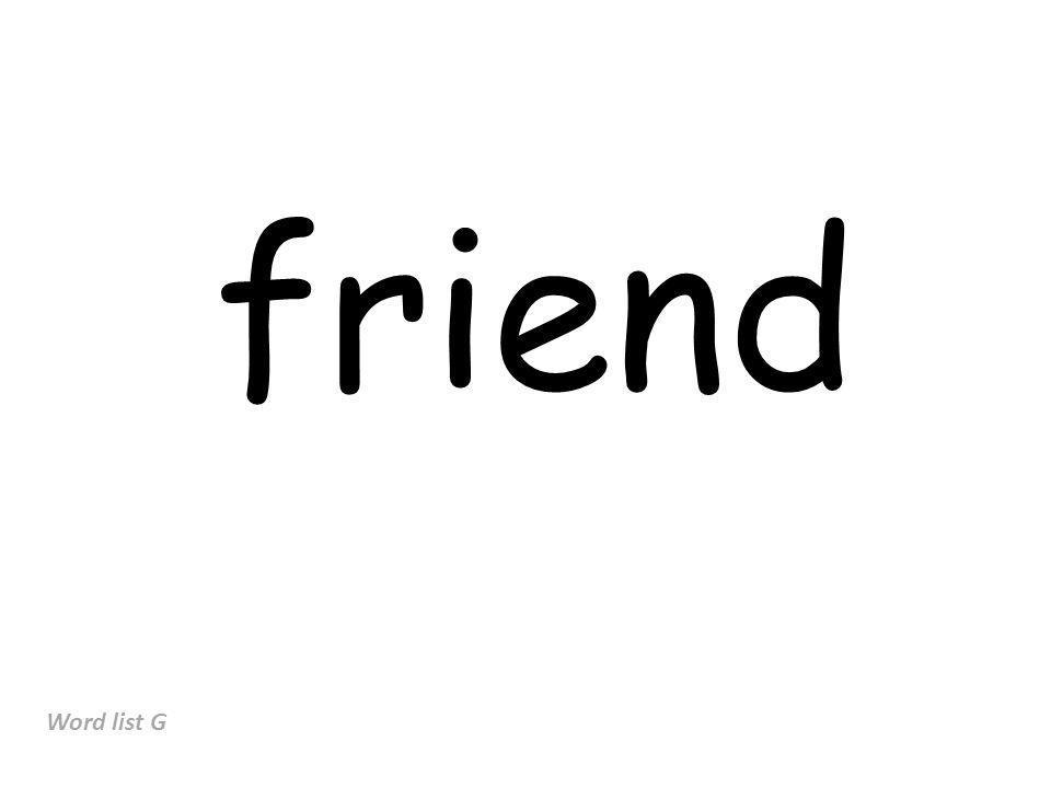 friend Word list G