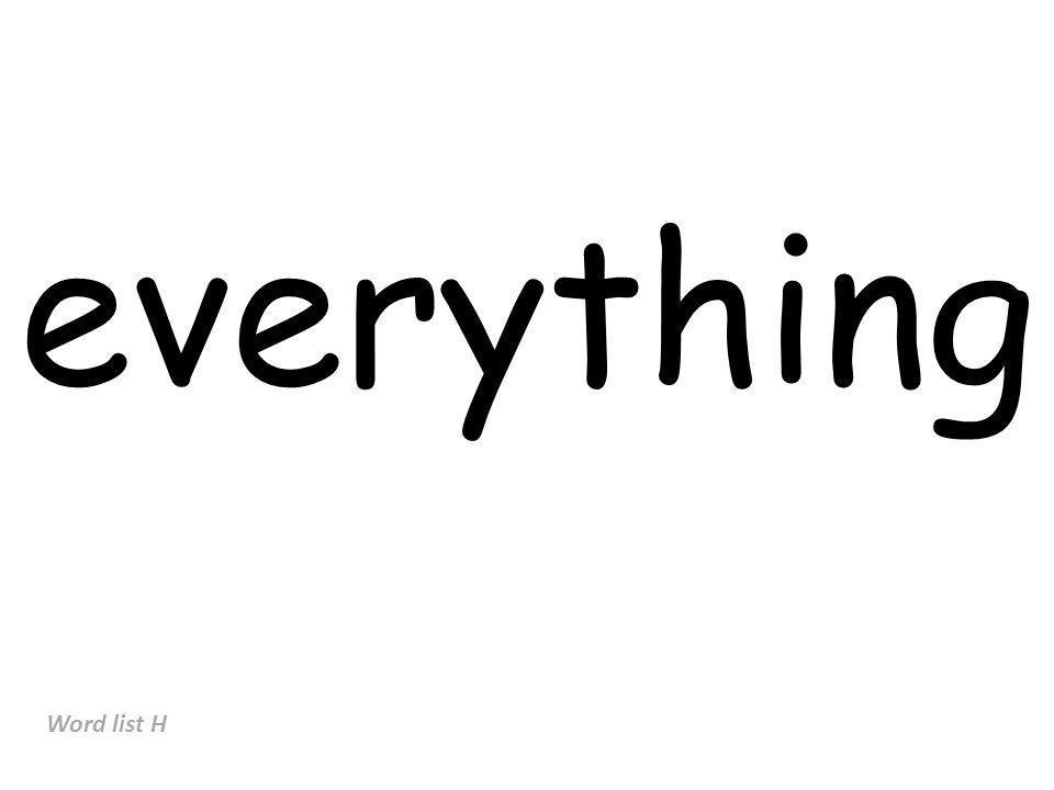 everything Word list H