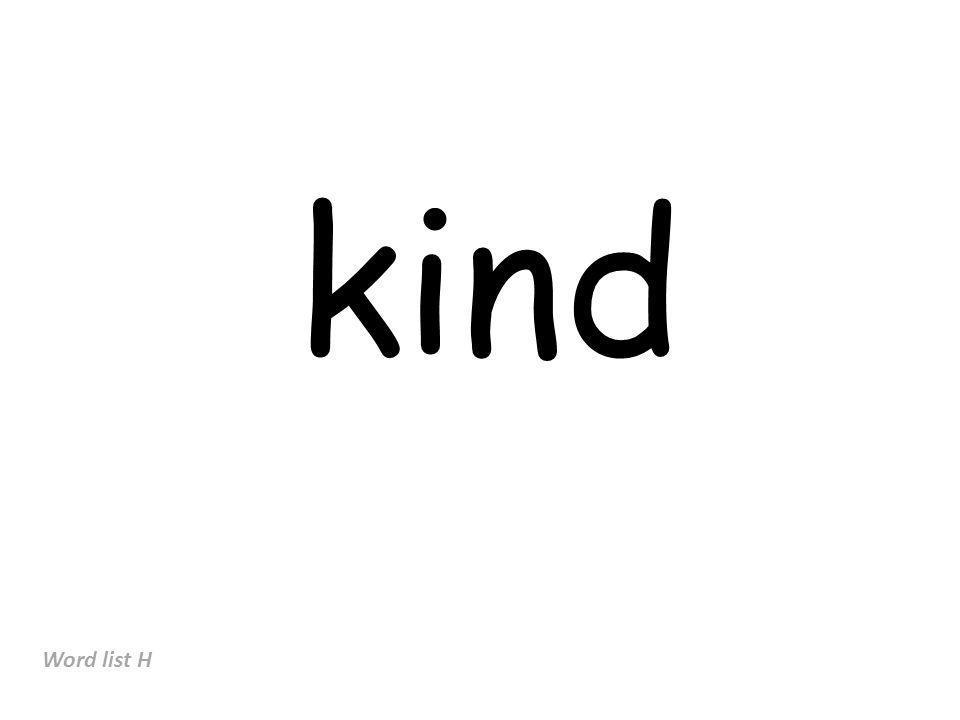 kind Word list H