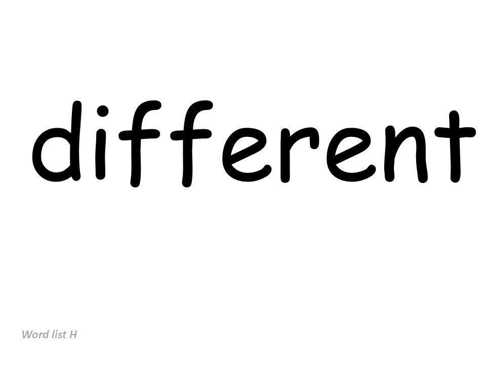 different Word list H