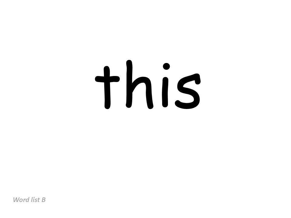 this Word list B