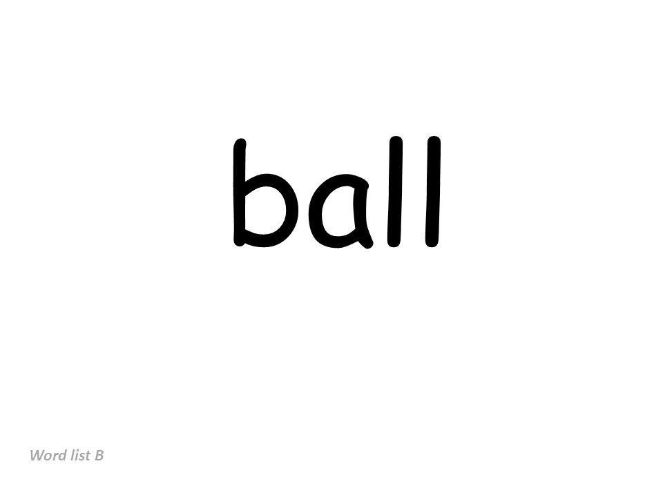 ball Word list B