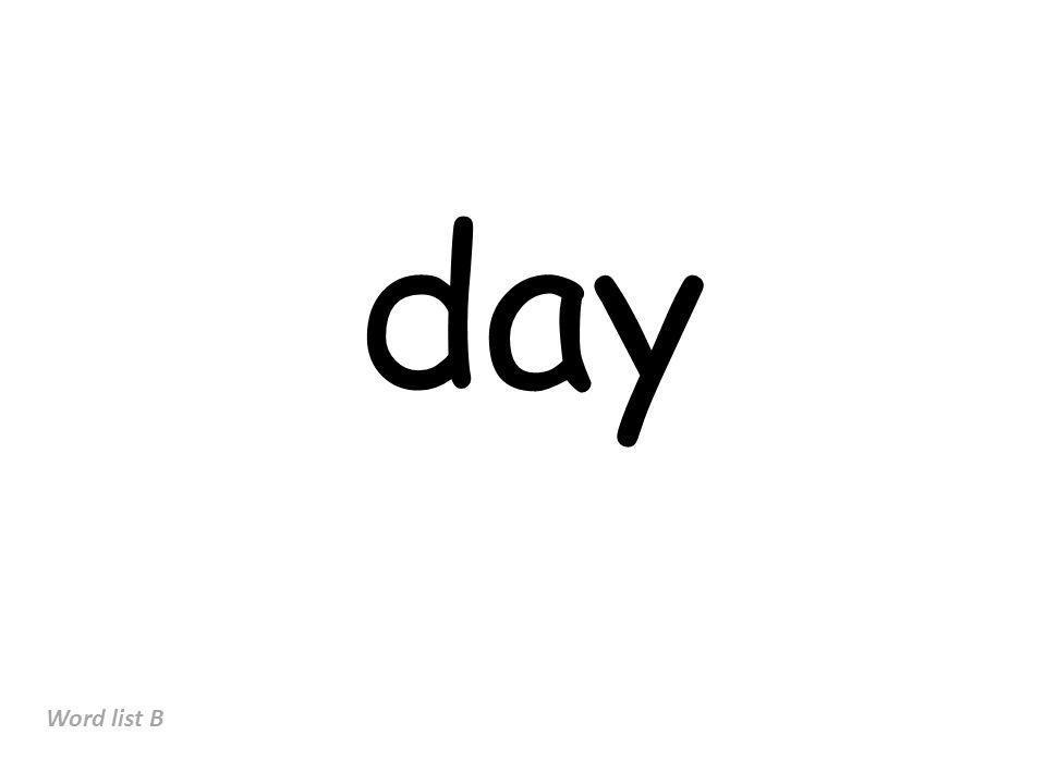 day Word list B