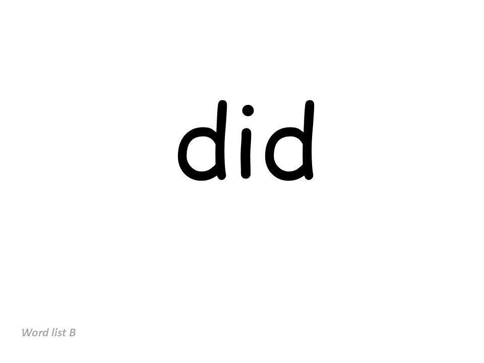 did Word list B