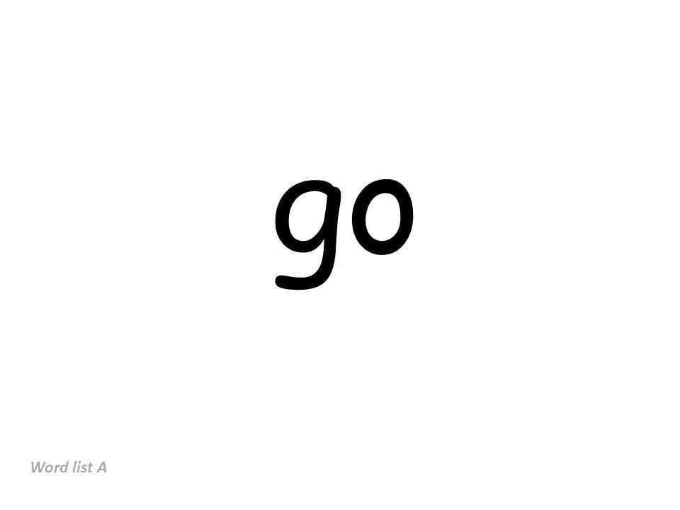 go Word list A