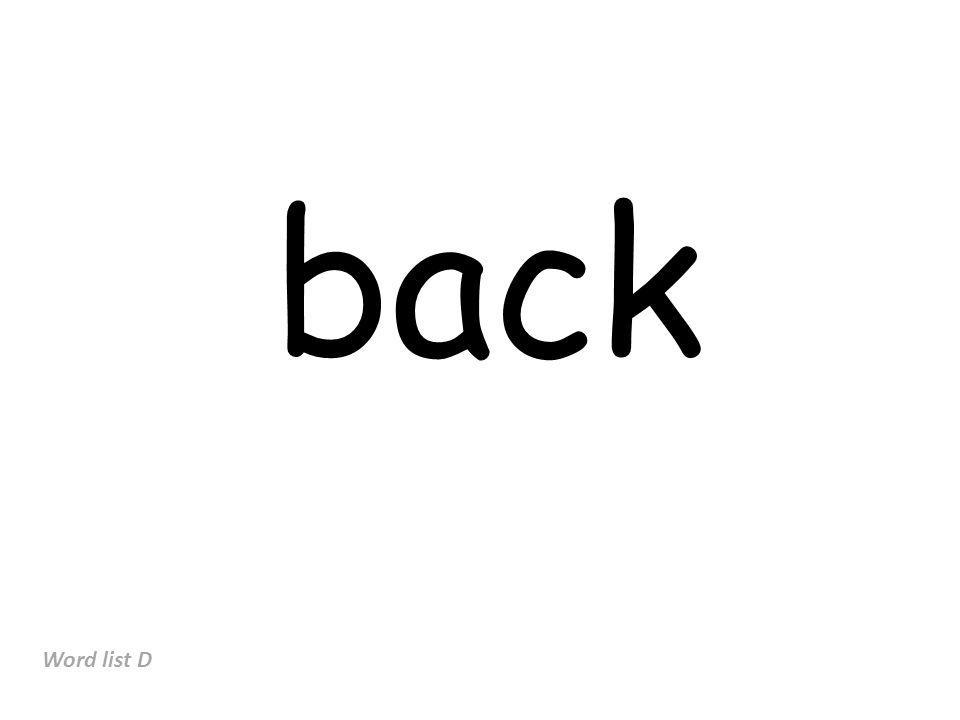 back Word list D