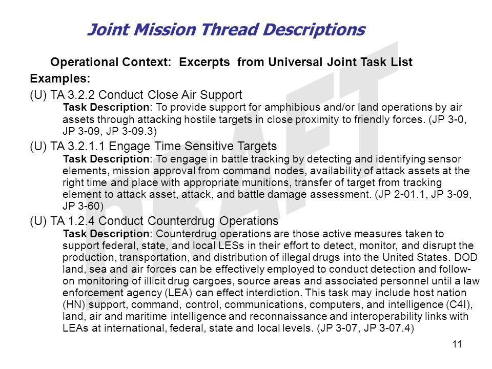 Joint Mission Thread Descriptions