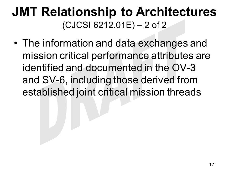 JMT Relationship to Architectures