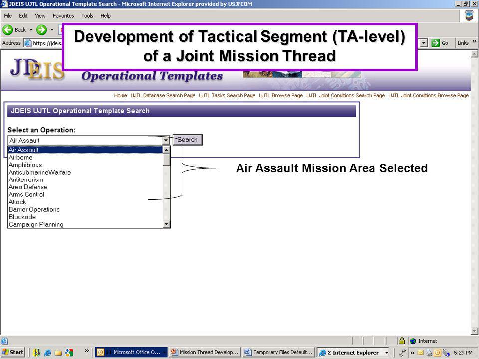 Development of Tactical Segment (TA-level) of a Joint Mission Thread