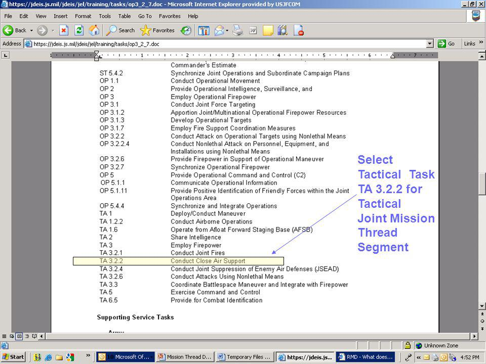 Select Tactical Task TA 3.2.2 for Tactical Joint Mission Thread Segment