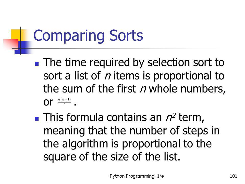 Comparing Sorts The time required by selection sort to sort a list of n items is proportional to the sum of the first n whole numbers, or .