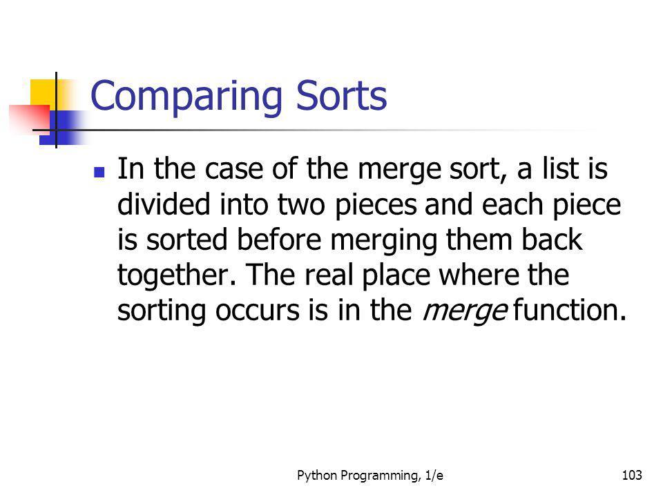 Comparing Sorts
