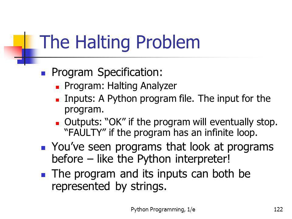The Halting Problem Program Specification: