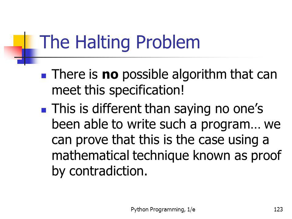 The Halting Problem There is no possible algorithm that can meet this specification!