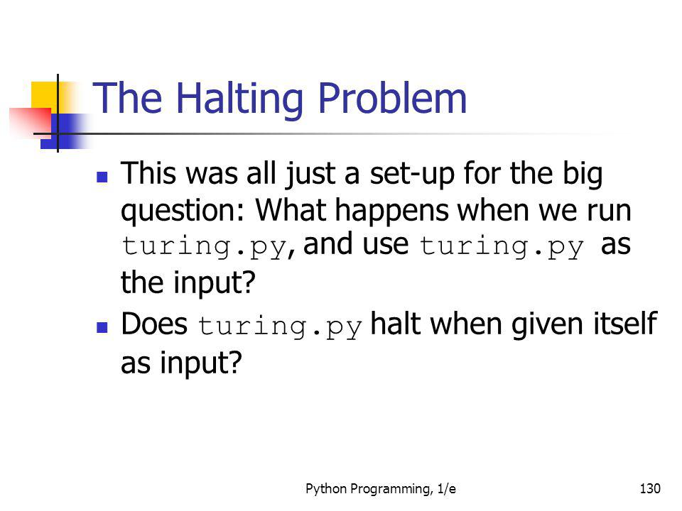 The Halting Problem This was all just a set-up for the big question: What happens when we run turing.py, and use turing.py as the input