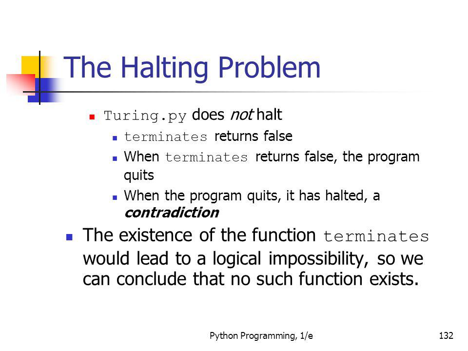 The Halting Problem Turing.py does not halt. terminates returns false. When terminates returns false, the program quits.