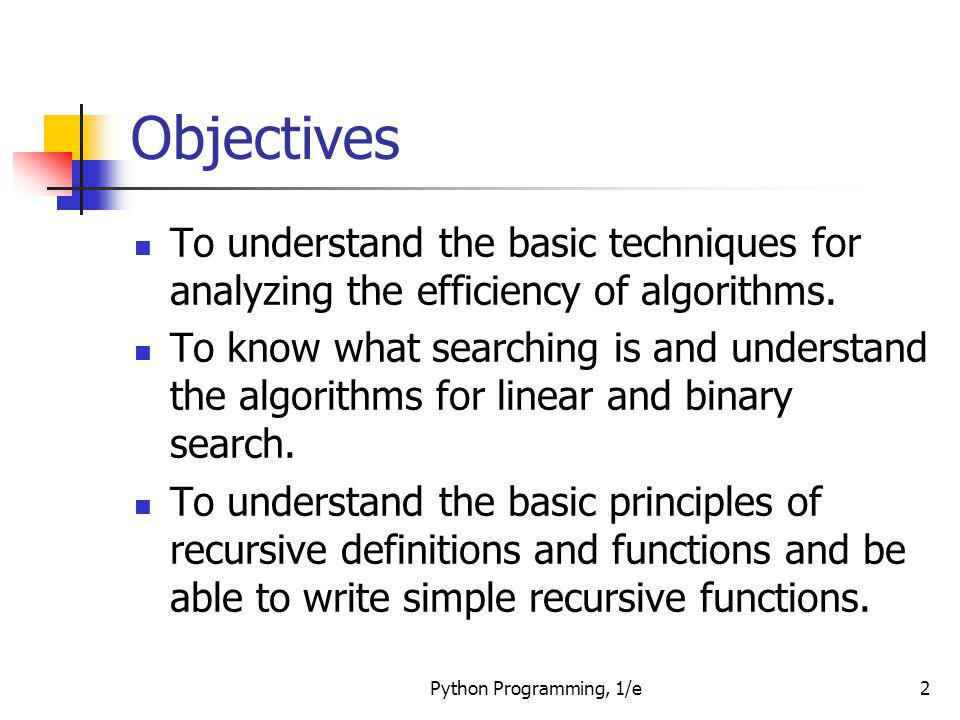 Objectives To understand the basic techniques for analyzing the efficiency of algorithms.