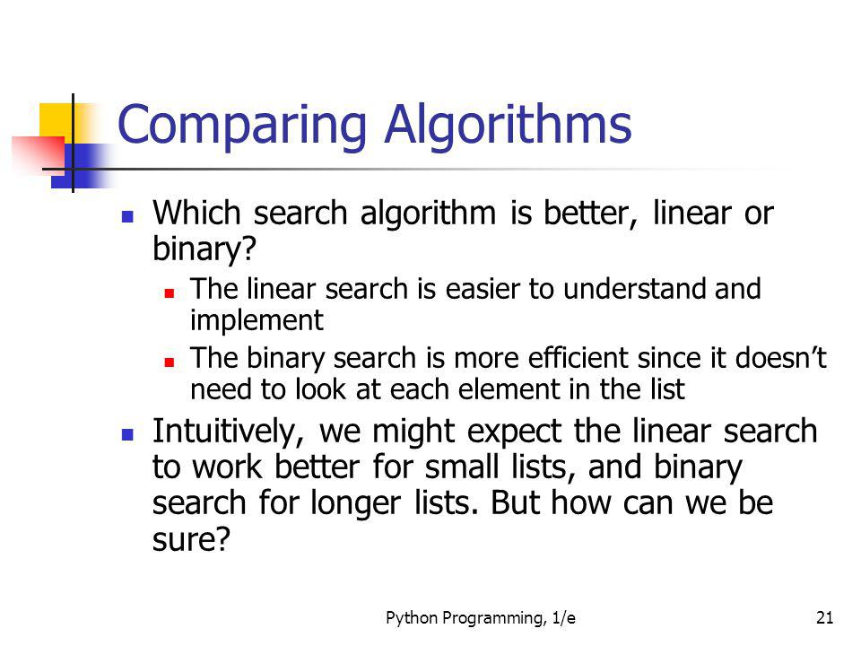 Comparing Algorithms Which search algorithm is better, linear or binary The linear search is easier to understand and implement.