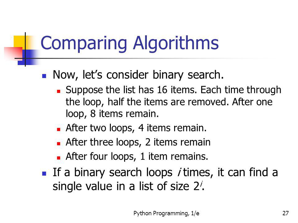 Comparing Algorithms Now, let's consider binary search.