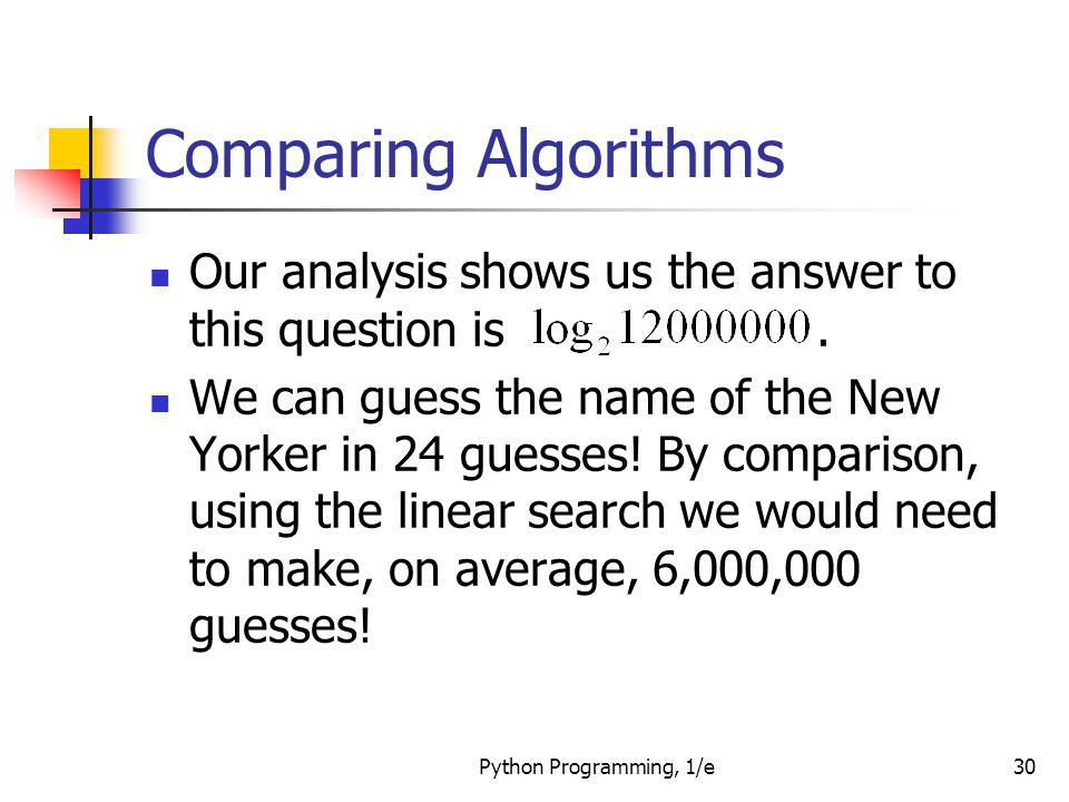 Comparing Algorithms Our analysis shows us the answer to this question is .