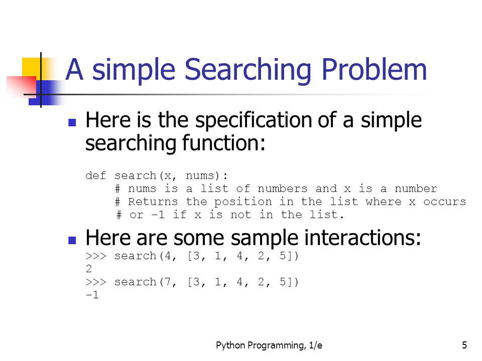 A simple Searching Problem
