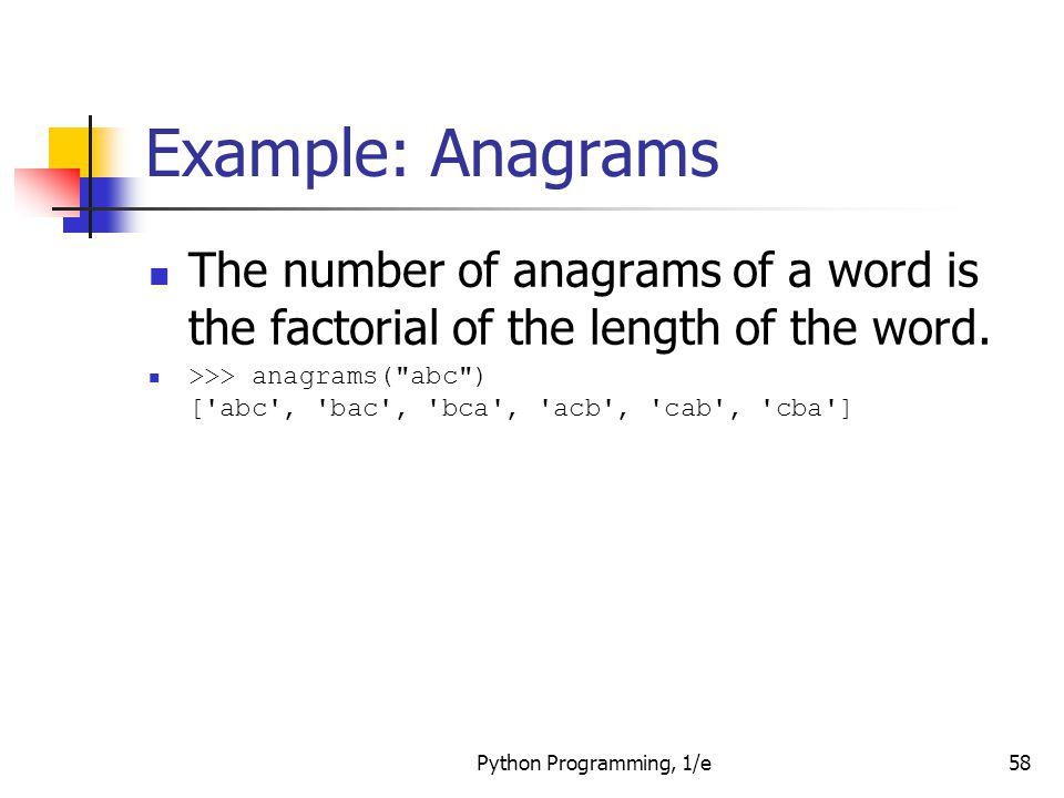 Example: Anagrams The number of anagrams of a word is the factorial of the length of the word.