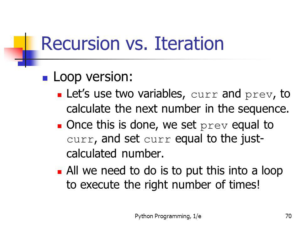 Recursion vs. Iteration