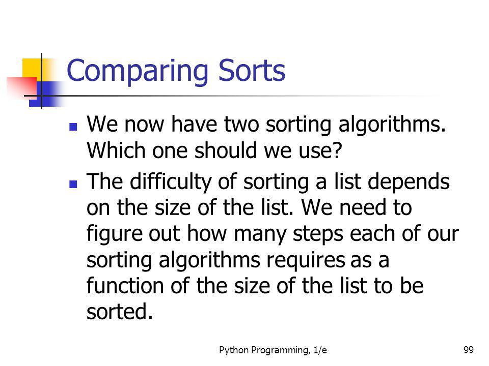 Comparing Sorts We now have two sorting algorithms. Which one should we use