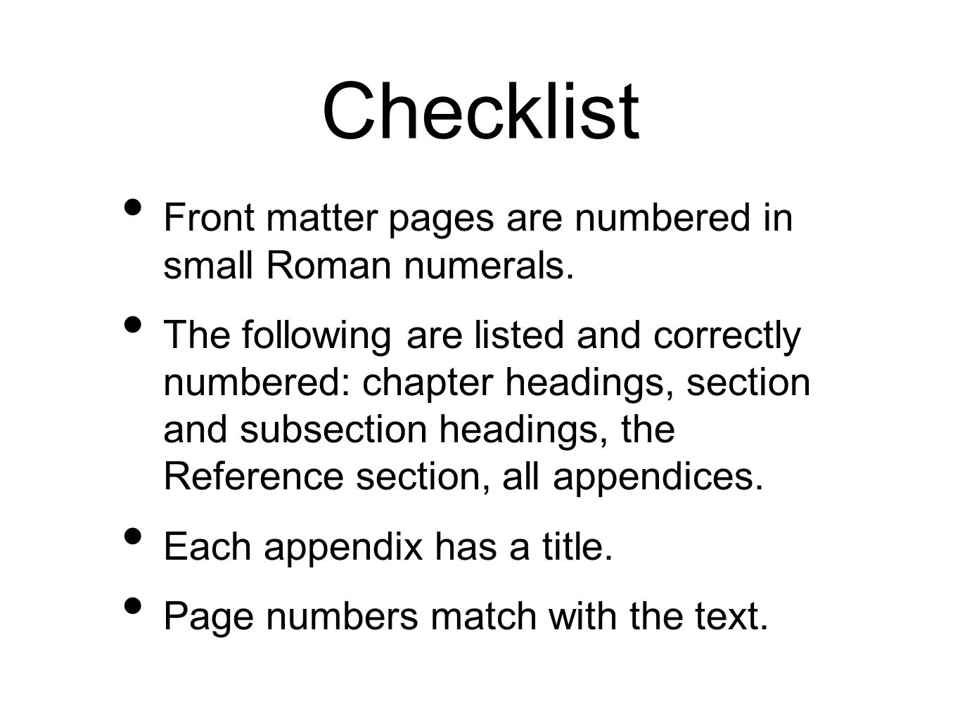 Checklist Front matter pages are numbered in small Roman numerals.