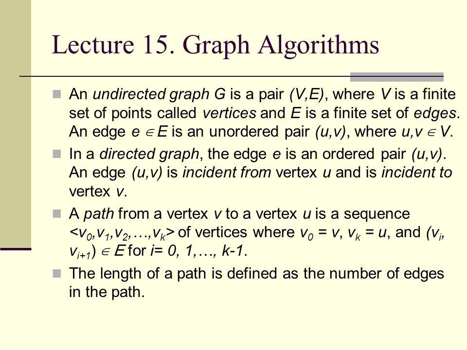 Lecture 15. Graph Algorithms