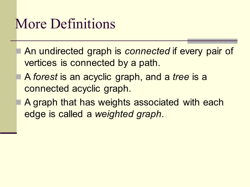 Talk at U of Maryland More Definitions. An undirected graph is connected if every pair of vertices is connected by a path.