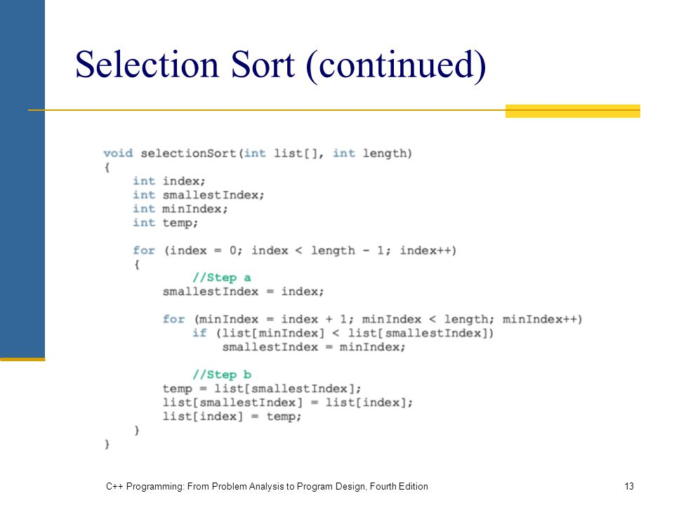 Selection Sort (continued)