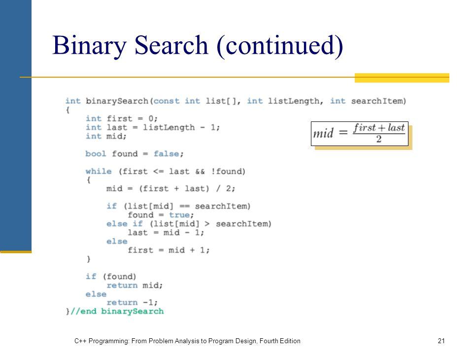 Binary Search (continued)