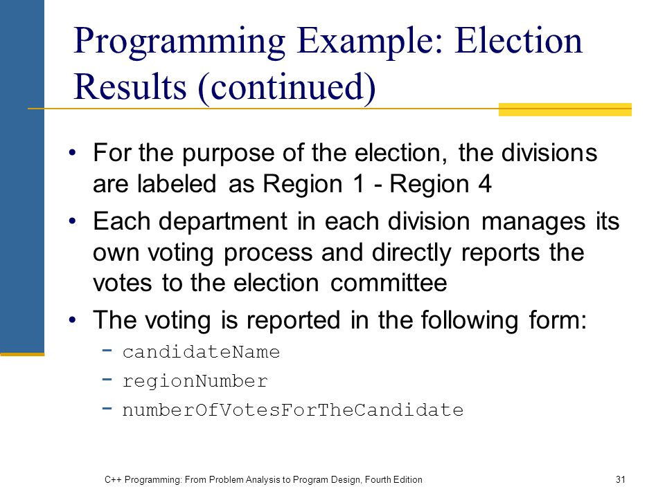 Programming Example: Election Results (continued)
