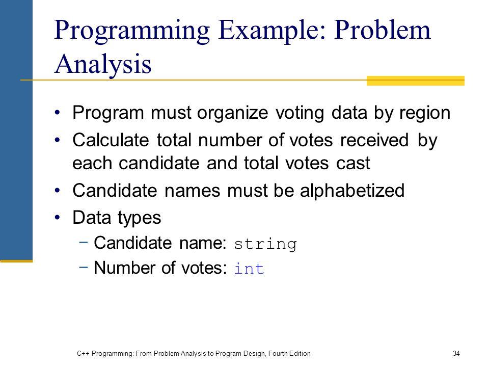 Programming Example: Problem Analysis