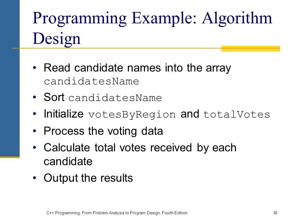 Programming Example: Algorithm Design
