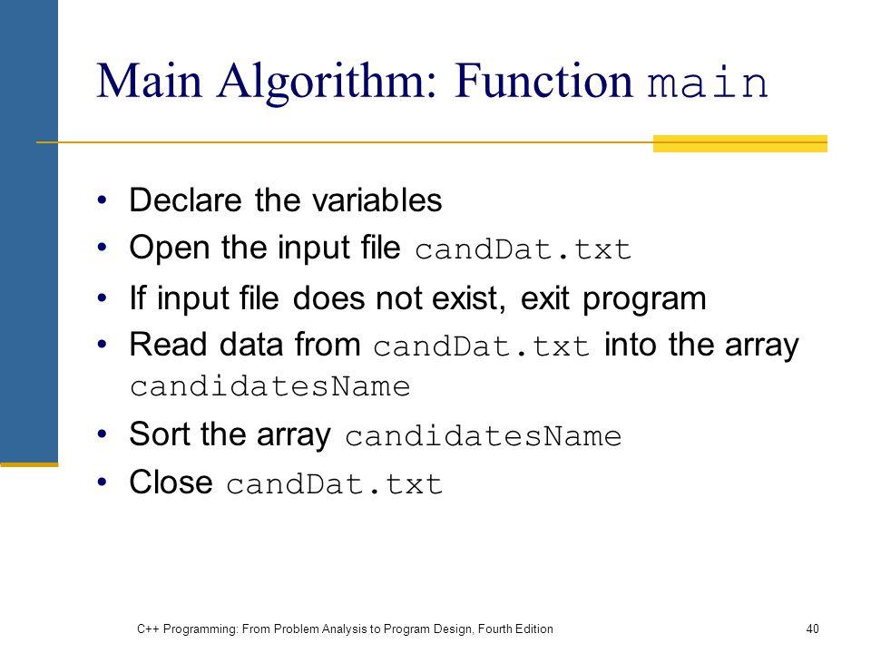 Main Algorithm: Function main