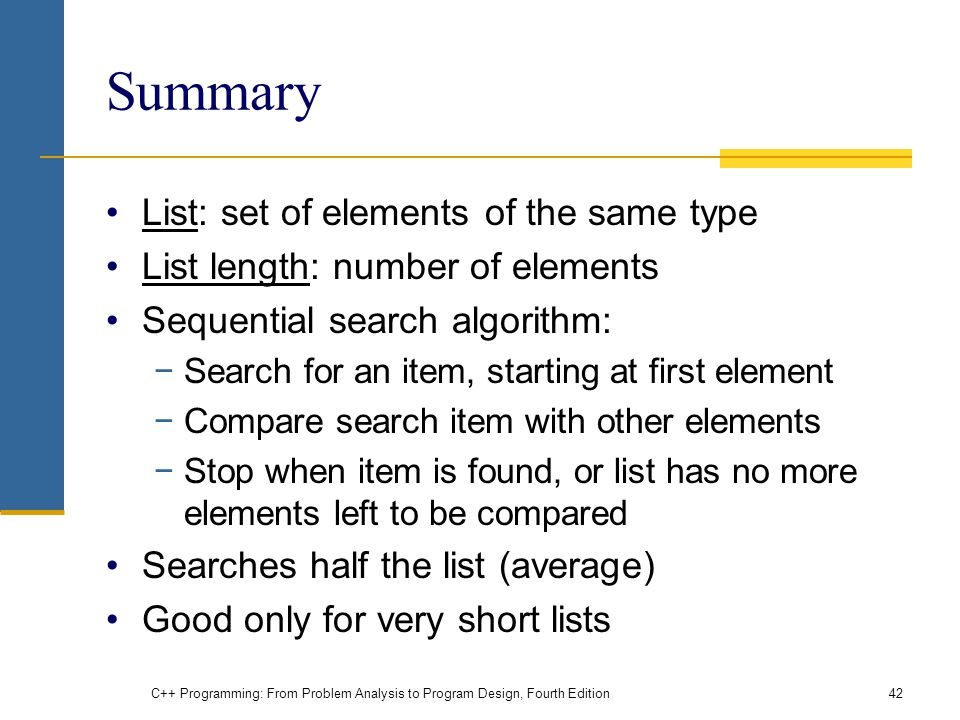 Summary List: set of elements of the same type