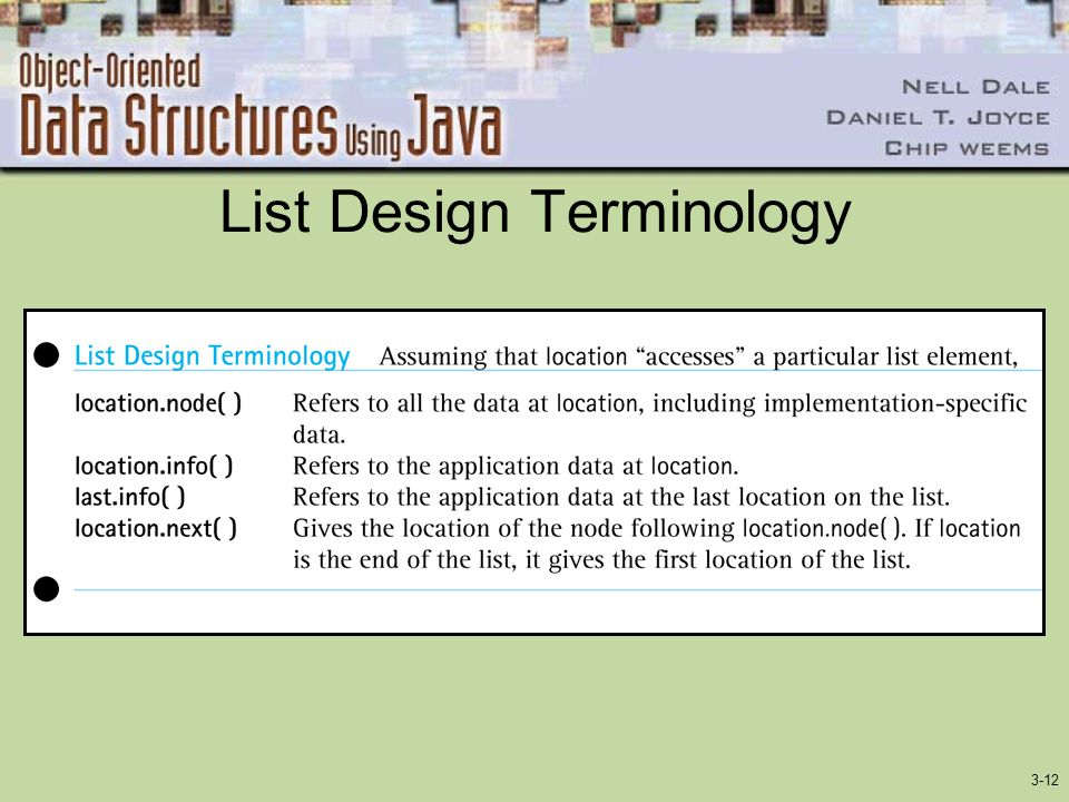 List Design Terminology