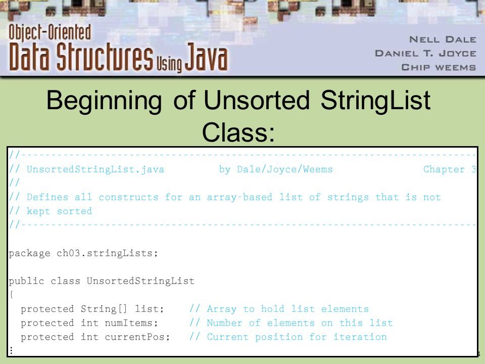 Beginning of Unsorted StringList Class: