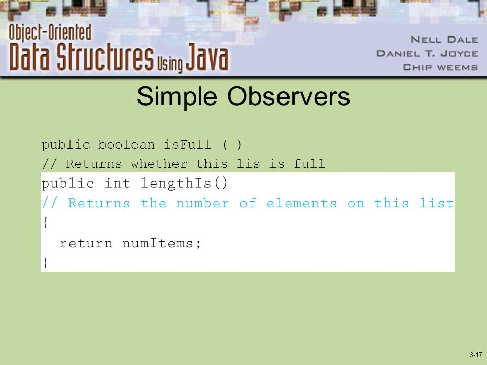 Simple Observers public boolean isFull ( )